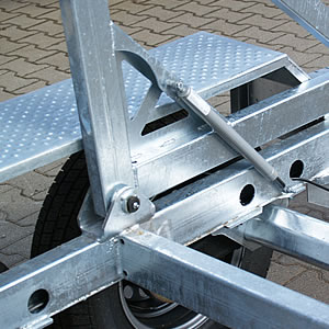 Shock absorbers supporting operation of the transport stand during loading.